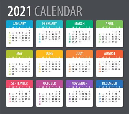 2021 Calendar - vector illustration, Sunday to Monday
