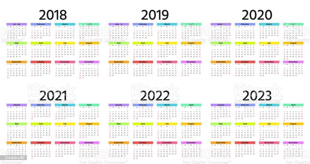 Calendrier 2020 Et 2019.2018 2019 Calendrier 2020 Illustration Vectorielle