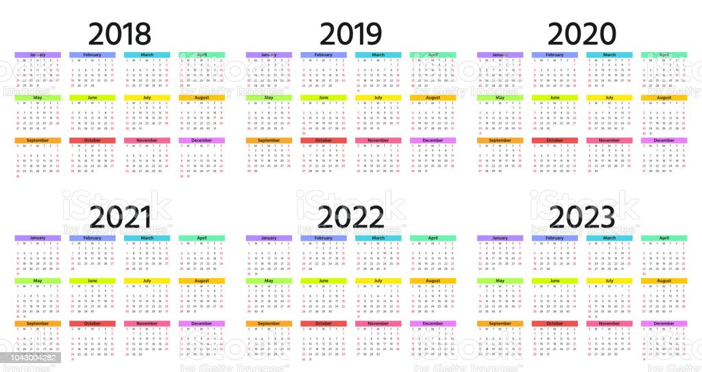 Calendrier 2020 2019.2018 2019 2020 Calendar Vector Illustration Template Year