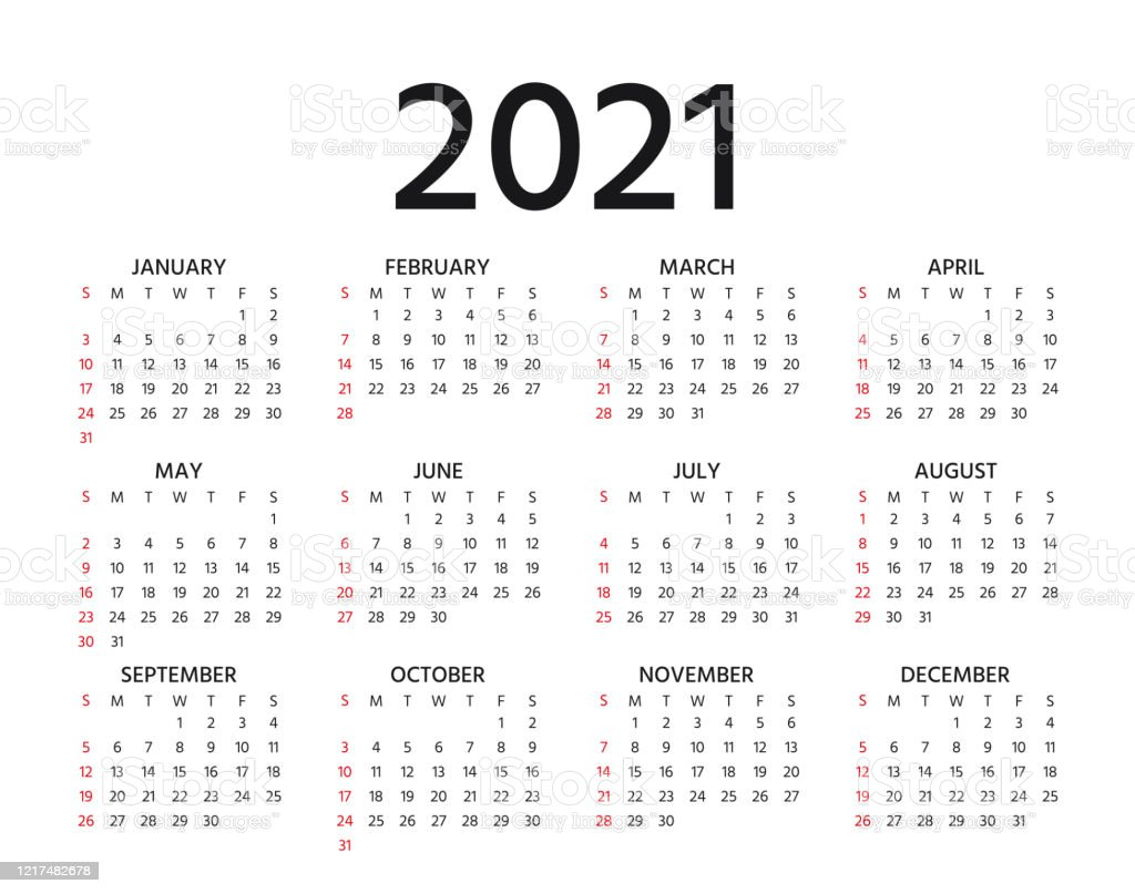2021 Calendar Vector Illustration Template Year Planner ...