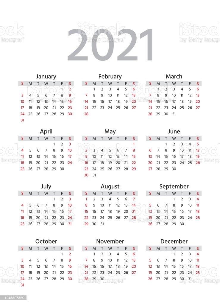 2021 Calendar Vector Illustration Template Year Planner ...