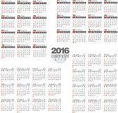 2016 Calendar set. Template For Your Design. Vector illustration.