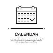 Calendar Vector Line Icon - Simple Thin Line Icon, Premium Quality Design Element