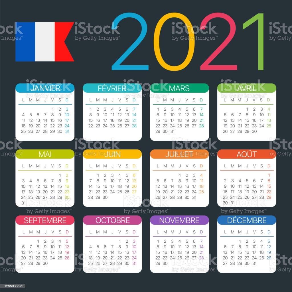 Calendrier Français 2021 Calendrier 2021 Illustration Graphique De Modèle Vectoriel Version