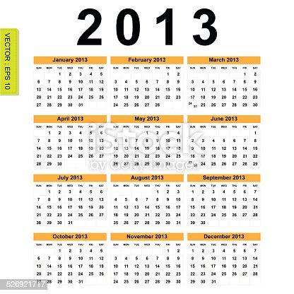 istock 2013 Calendar vector 526921717