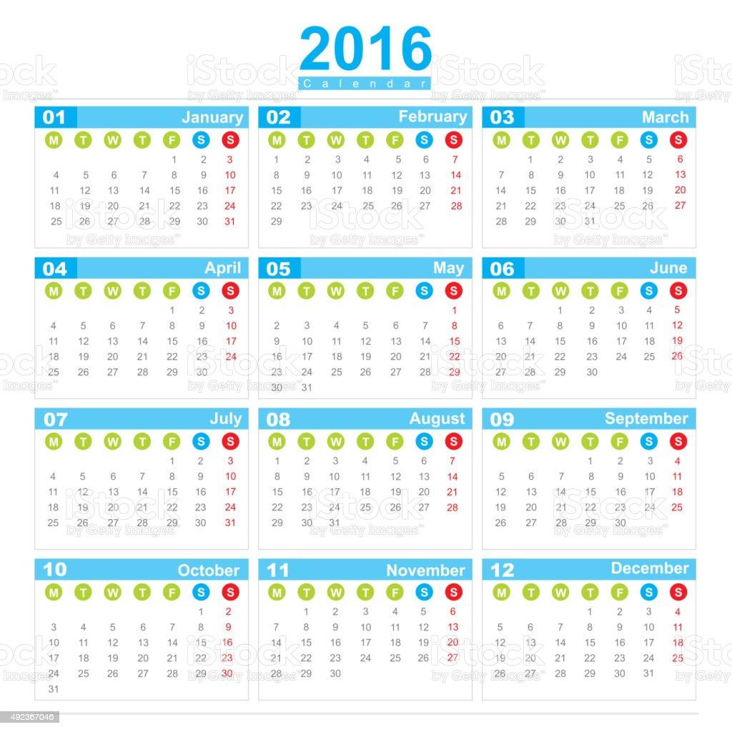 Semana Calendario.Ilustracion De 2016 Semana Calendario Inicio Lunes Y Mas Vectores