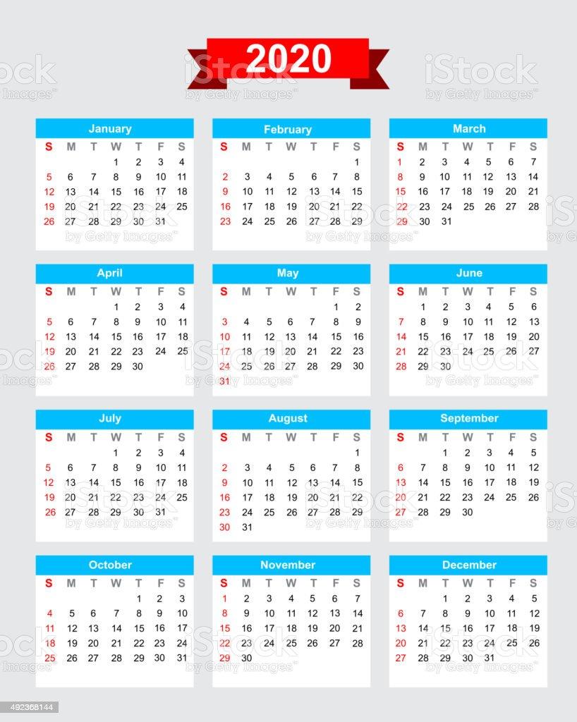 Settimane Calendario 2020.Il 2020 Calendari Settimana Inizia Domenica Immagini Vettoriali Stock E Altre Immagini Di 2015