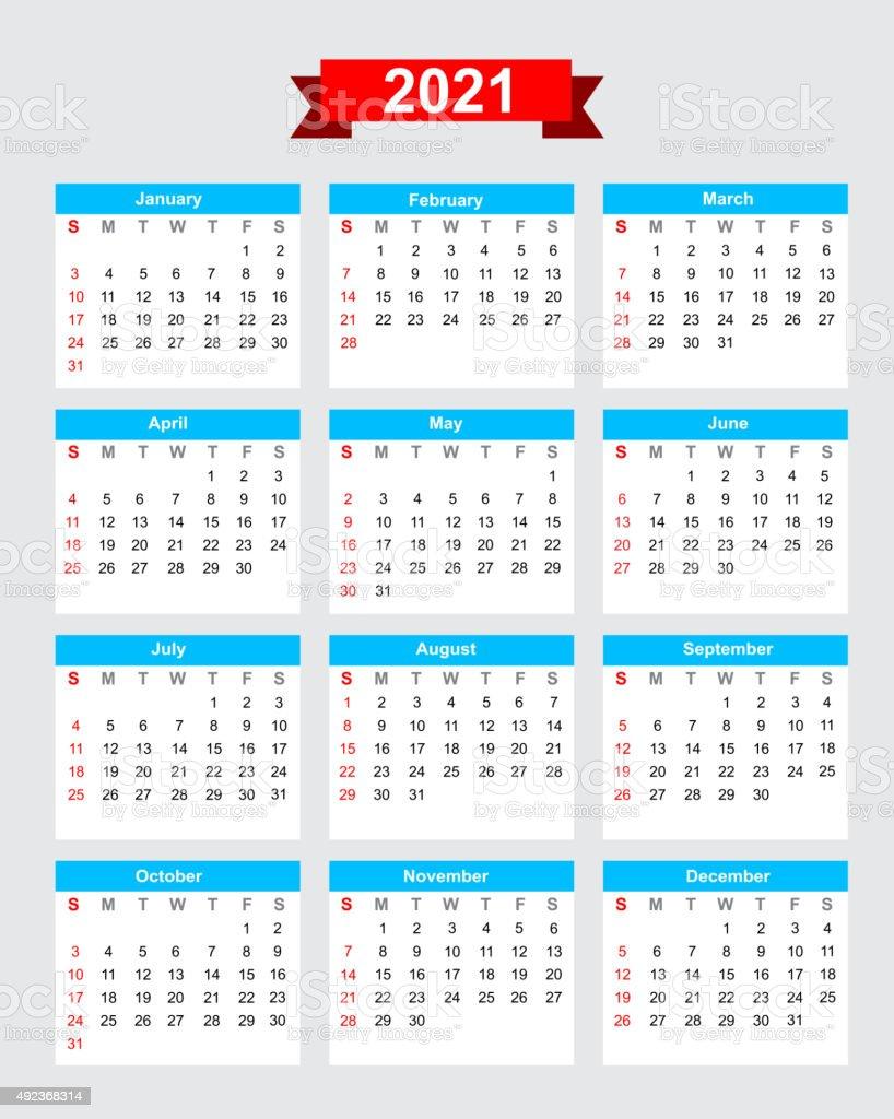 2021 Calendrier Semaine Commence Le Dimanche Vecteurs libres de
