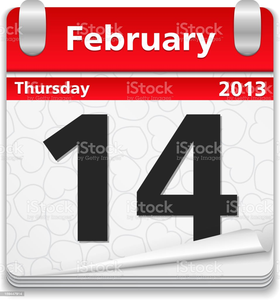 Calendar with 14 February Page royalty-free stock vector art