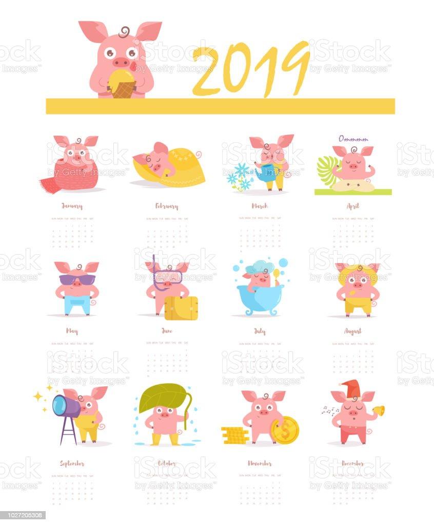Calendario con un cerdo para 2019 Vector. Dibujos animados. Arte aislado sobre fondo blanco - ilustración de arte vectorial