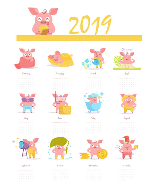 Calendar with a pig for 2019 Vector. Cartoon. Isolated art on white background vector art illustration