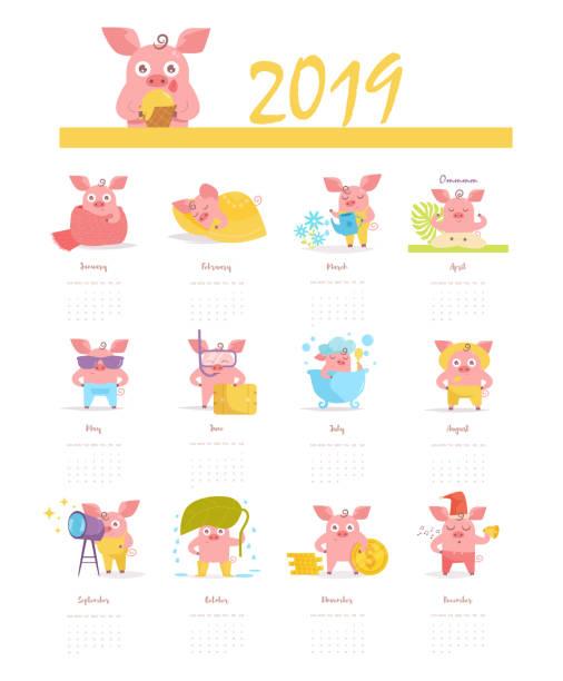 ilustraciones, imágenes clip art, dibujos animados e iconos de stock de calendario con un cerdo para 2019 vector. dibujos animados. arte aislado sobre fondo blanco - calendario de naturaleza