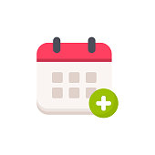 istock Calendar with Add Symbol Flat Icon. Pixel Perfect. For Mobile and Web. 1151601555