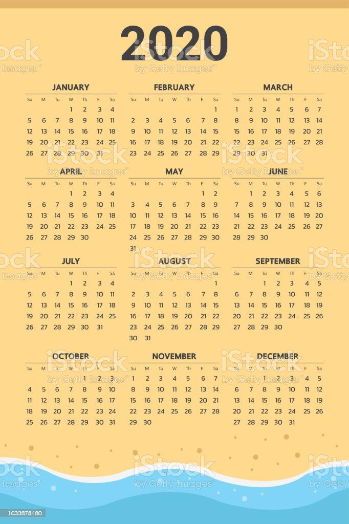 Calendrier 2020 Avec Photos.Calendrier 2020 Avec Le Theme De La Plage Vecteur Vecteurs