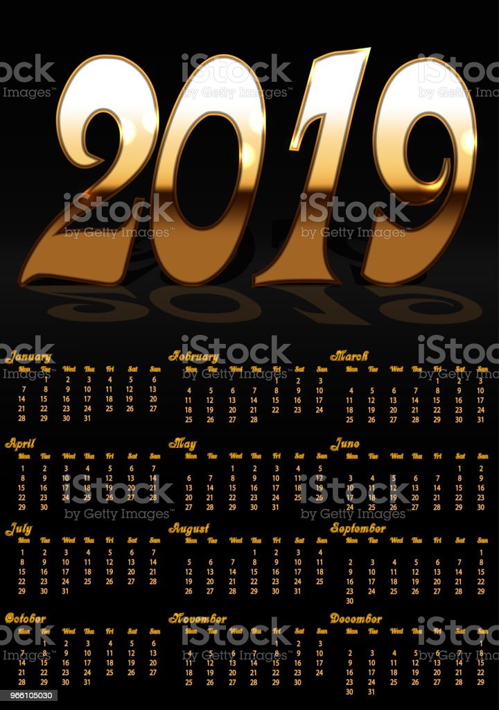 Calendar with black background and gold letters for 2019 year - Векторная графика 2019 роялти-фри