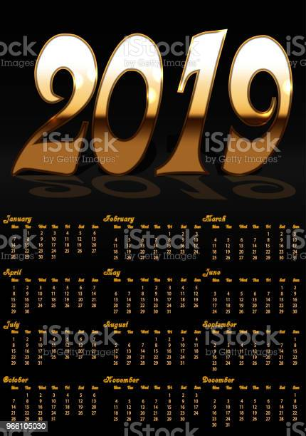 Calendar With Black Background And Gold Letters For 2019 Year — стоковая векторная графика и другие изображения на тему 2019
