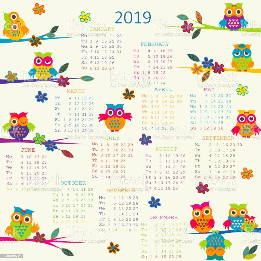 Calendario Dibujo 2019.Ilustracion De Calendario 2019 Con Buhos Dibujos Animados Y