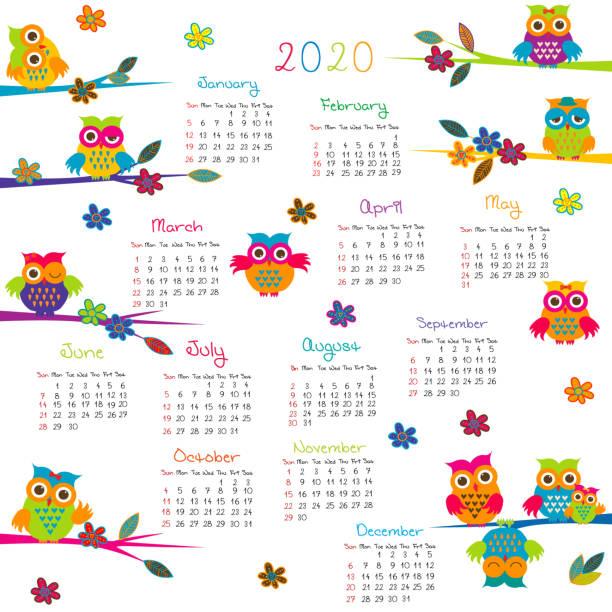 ilustrações, clipart, desenhos animados e ícones de 2020 calendário com corujas dos desenhos animados - calendário de vida selvagem