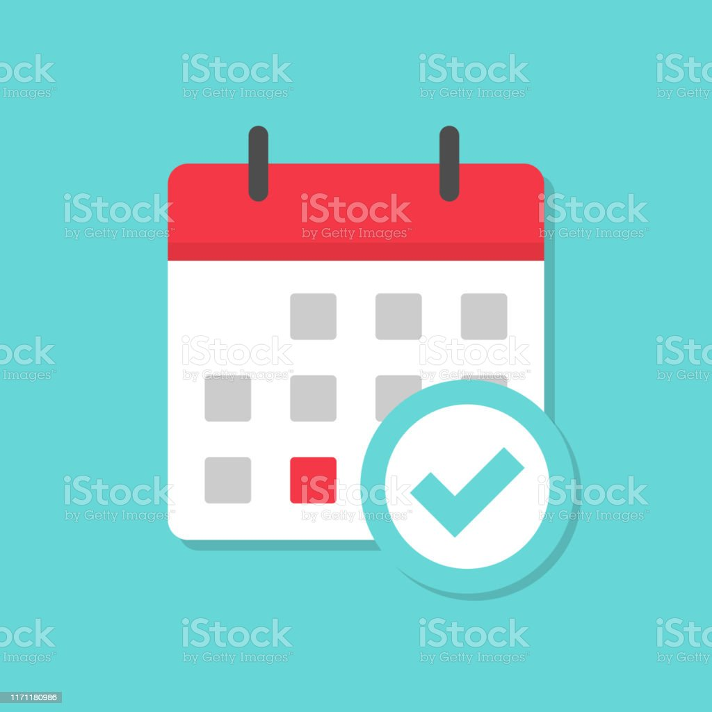 Kalender met vinkje pictogram met schaduw - Royalty-free Applicatie vectorkunst