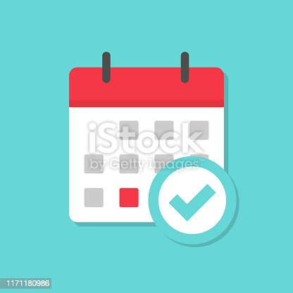 Calendar with check mark icon with shadow