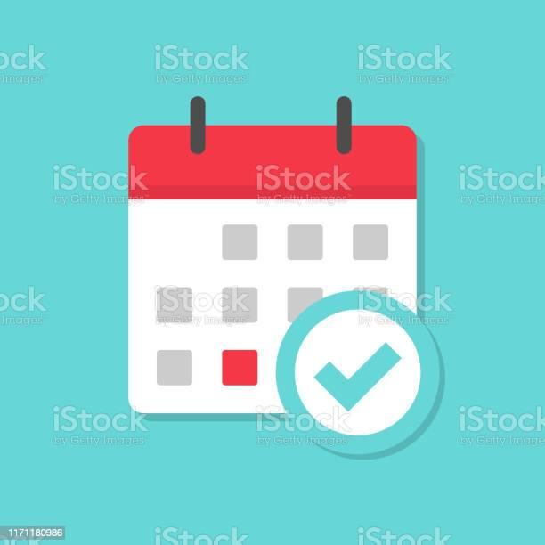 Kalender Met Vinkje Pictogram Met Schaduw Stockvectorkunst en meer beelden van Applicatie