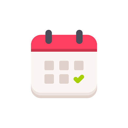 Calendar with Checkmark Flat Icon. Pixel Perfect. For Mobile and Web.