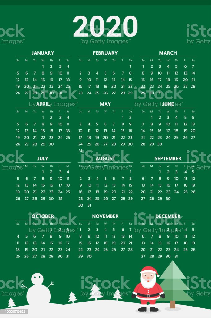 Christmas Theme Calendar December 2020 2020 Calendar With Christmas Theme Vector Stock Illustration