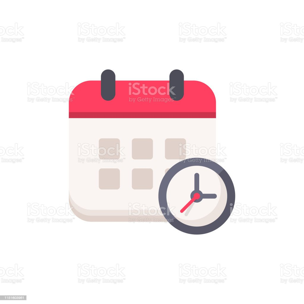 Calendar with Clock Flat Icon. Pixel Perfect. For Mobile and Web. Calendar with Clock Flat Icon. Abstract stock vector