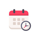Calendar with Clock Flat Icon.
