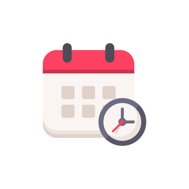 ilustrações de stock, clip art, desenhos animados e ícones de calendar with clock flat icon. pixel perfect. for mobile and web. - data