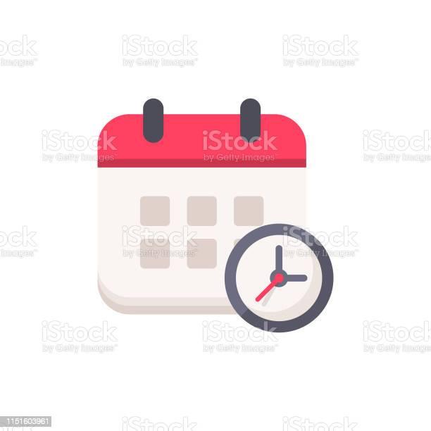 Calendrier Avec Horloge Plat Icône Pixel Parfait Pour Mobile Et Web Vecteurs libres de droits et plus d'images vectorielles de Abstrait