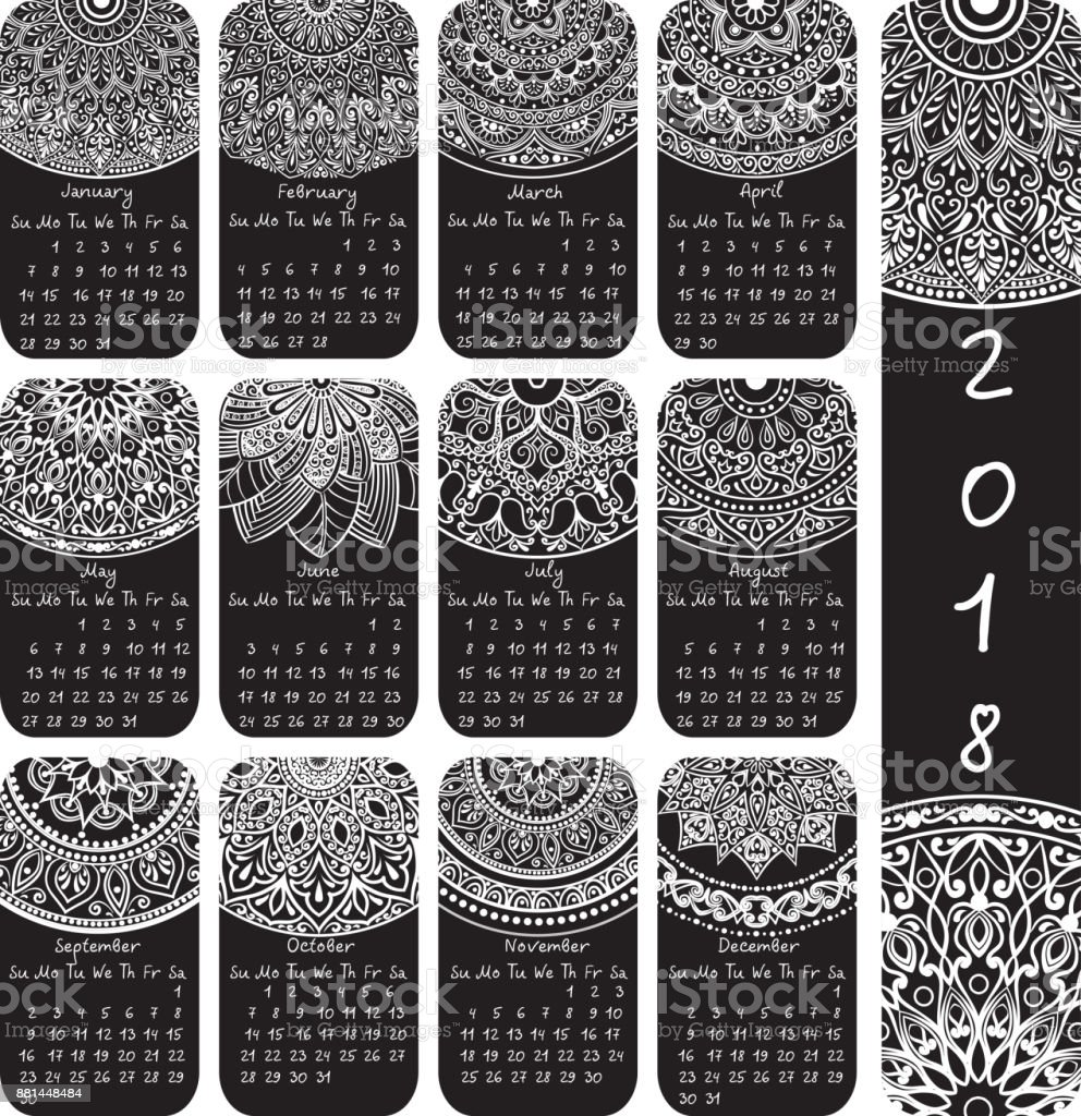 Calendar With Ethnic Patterns For 2018 Months On Rectangular