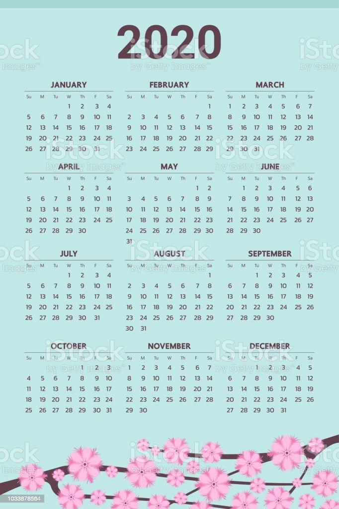 Vector De Calendario 2020.2020 Calendar With Flowers Theme Vector Stock Illustration