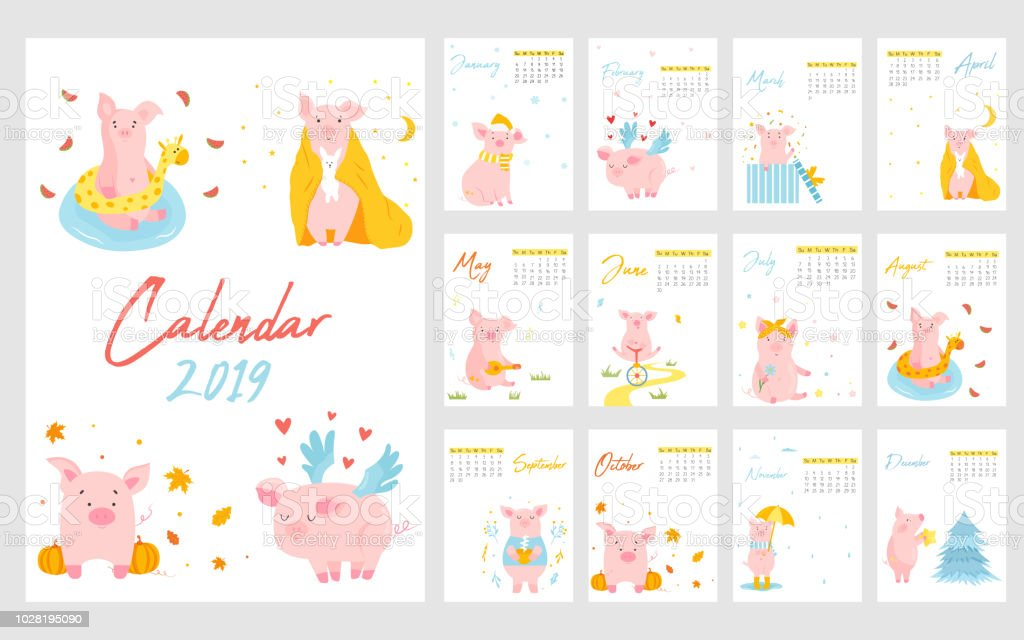 2019 calendar with funny pig monthly pages character design editable