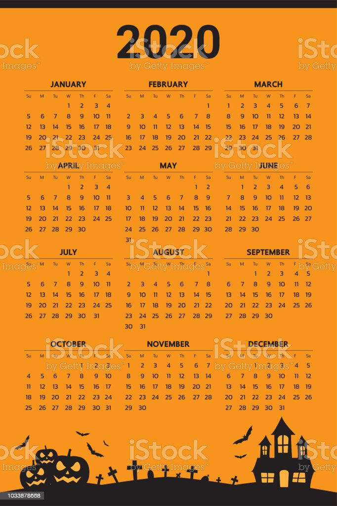 Cuando Es Halloween 2020 2020 Calendar With Halloween Theme Vector Stock Illustration