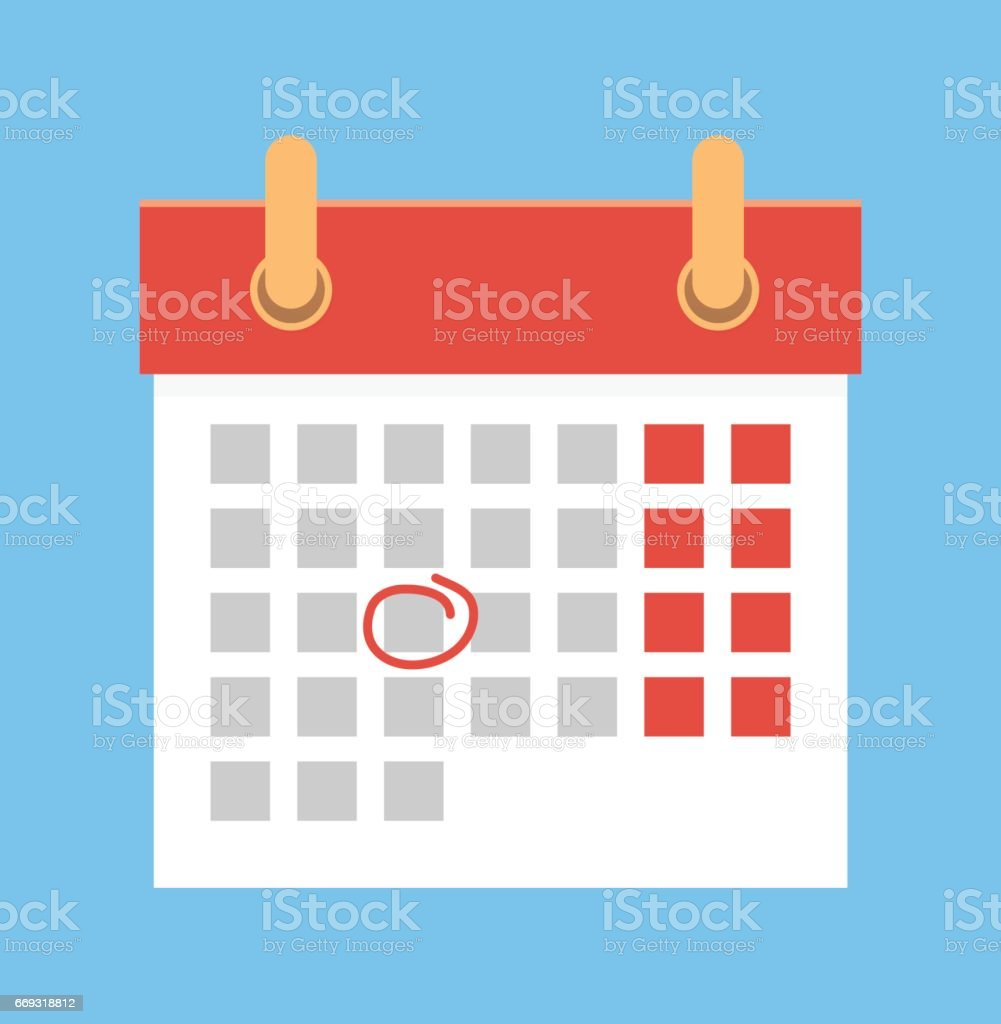 Calendar with important date vector art illustration