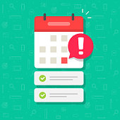 istock Calendar with important deadline date and task list or event appointment vector flat cartoon illustration, online scheduled agenda modern design isolated image 1207708276