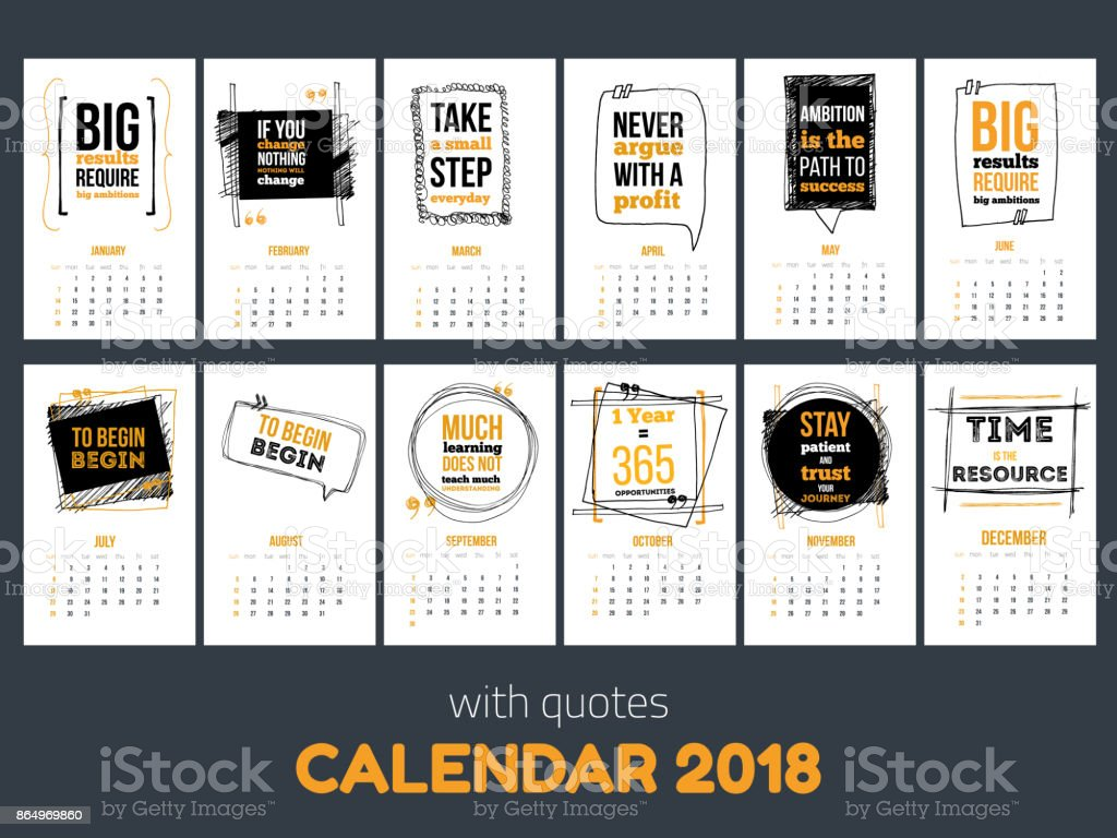 Calendar with inspiring quotes 2018, Bright colorful year template vector art illustration