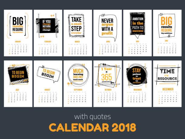 kalender mit inspirierenden zitaten 2018, leuchtend bunte jahr vorlage - tischkalender stock-grafiken, -clipart, -cartoons und -symbole