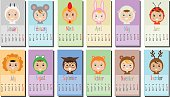 Calendar with Kids in party Outfit. Children in Animal Carnival Costumes