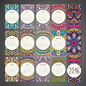 Calendar with mandalas