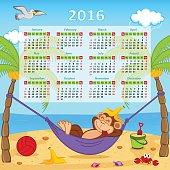 Calendar with monkey on hammock 2016 - vector illustration, eps