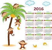 Calendar with monkeys on palm 2016