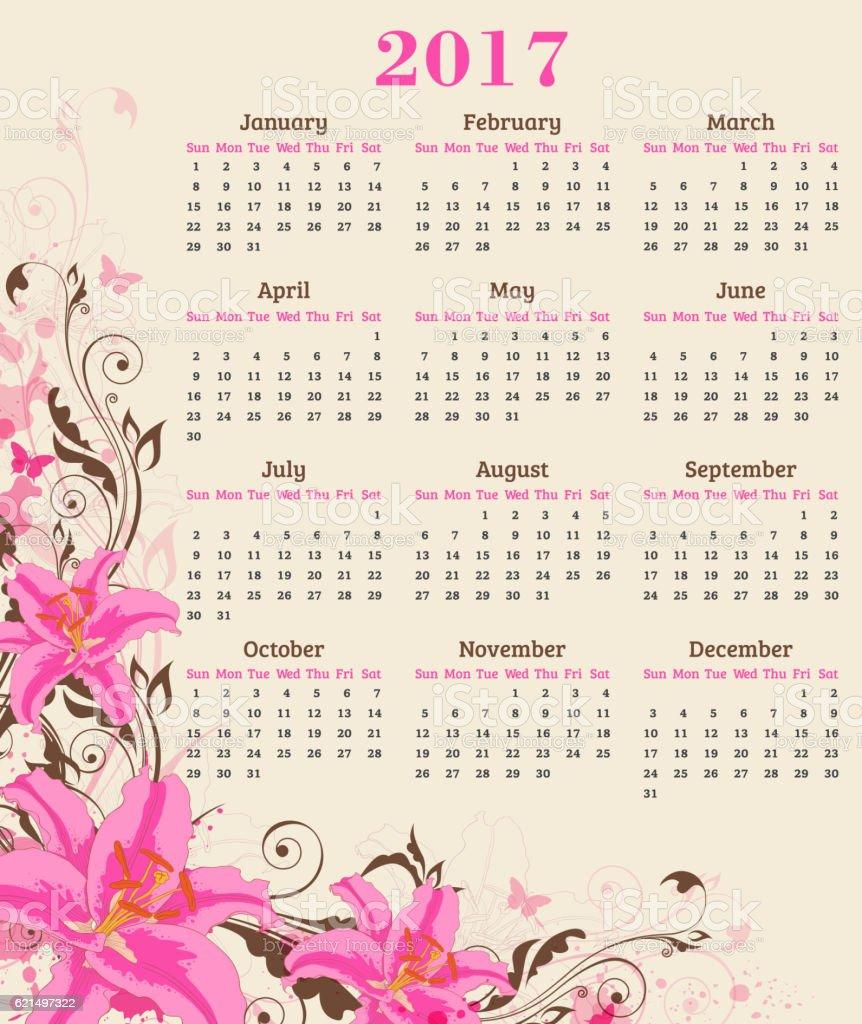 Calendar with pink lily Lizenzfreies calendar with pink lily stock vektor art und mehr bilder von 2017