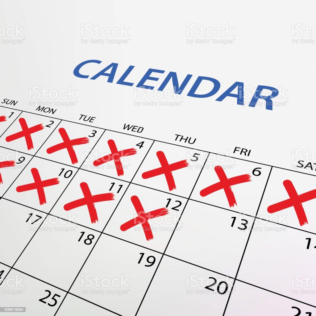 Marca Calendario.Vetores De Calendario Com Vermelha Marca Vector E Mais Imagens De