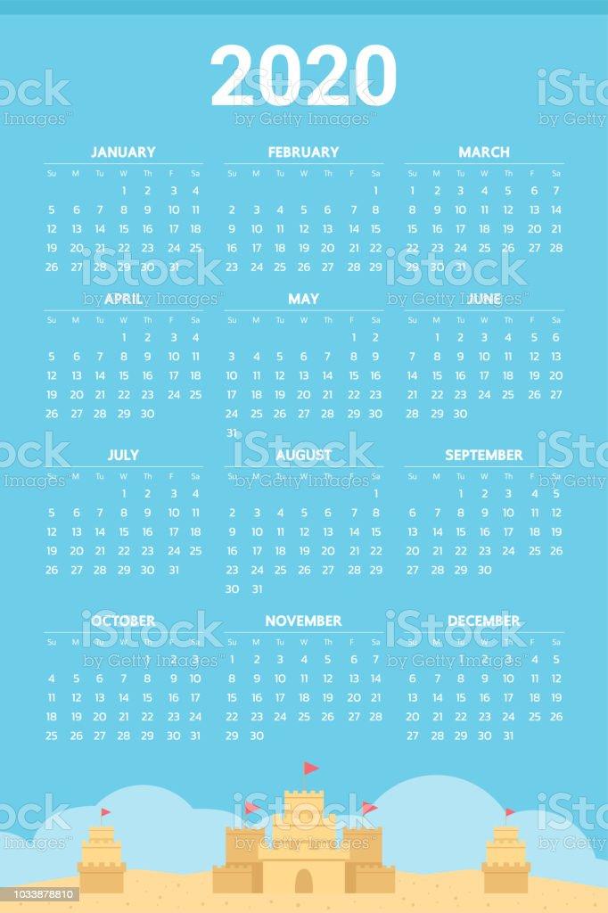 Calendario Arena 2020.Ilustracion De Calendario De 2020 Con Tema De Castillos De
