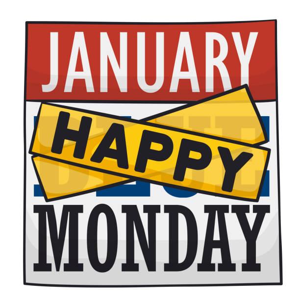 stockillustraties, clipart, cartoons en iconen met kalender met tapes gejuich omhoog op je tijdens blauwe maandag - blue monday