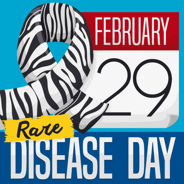 calendar with zebra ribbon to celebrate rare disease day - leap year stock illustrations
