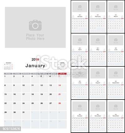 Calendar Year 2018 Horizontal Vector Design Template Simple And