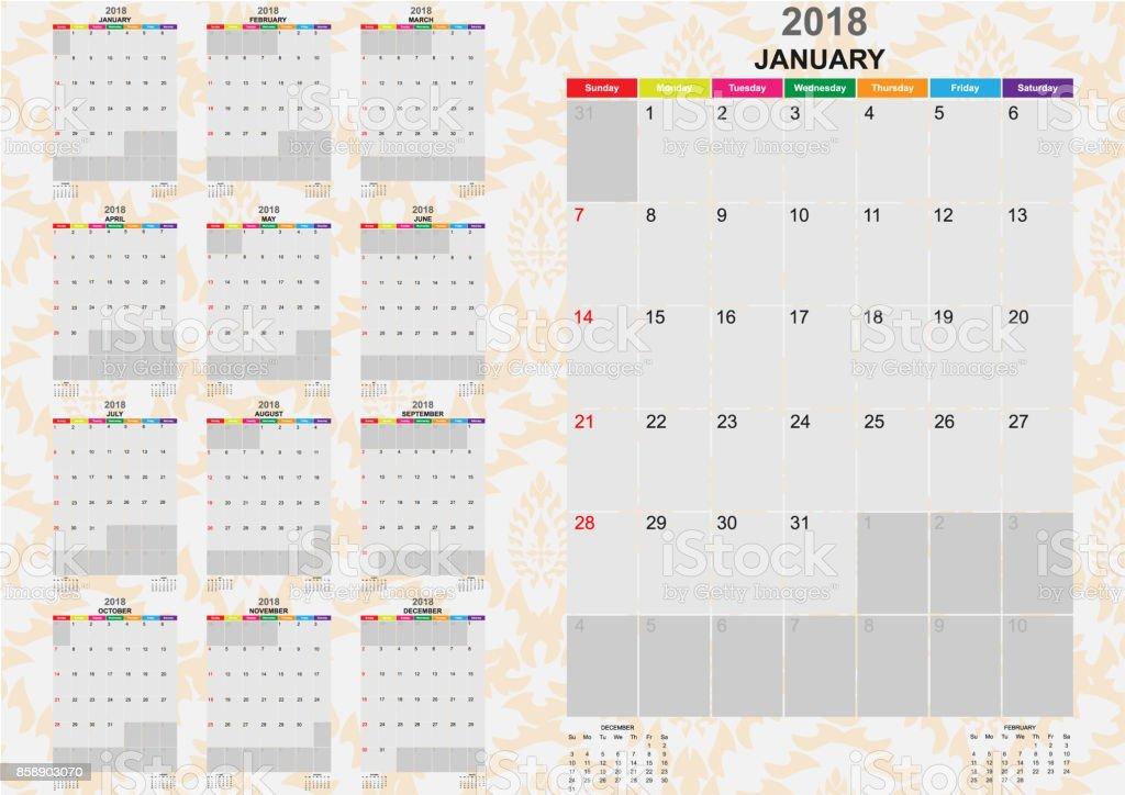 Calendar Year 2018 Twelve Months Calendar Year 2018 Template